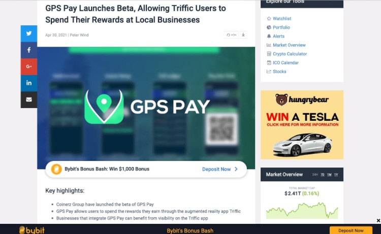 20210430 coincodex GPS Pay launches Beta