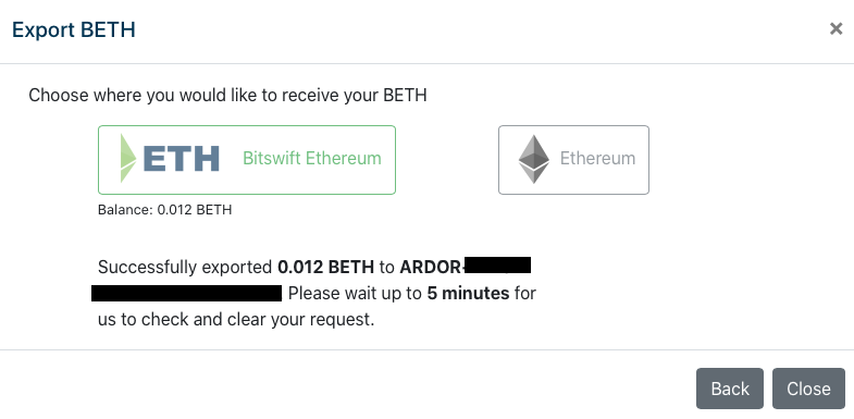 BETH Export confirmation