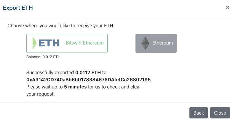 BETH to ETH succesful